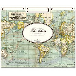 Cavallini World Map File Folders perfect for my home office and go with my globe collection!