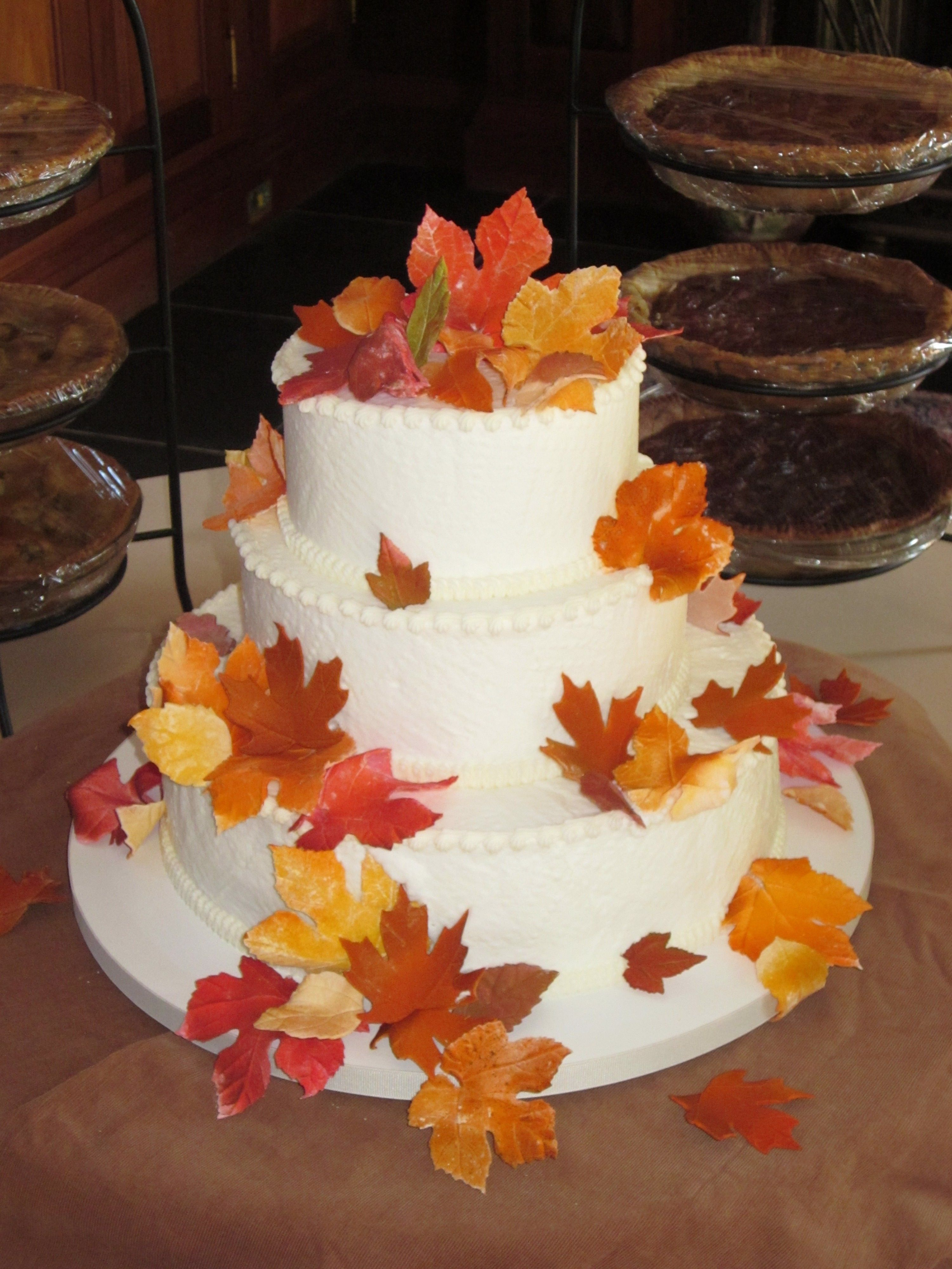 Fondant fall leaves adorn this simple wedding cake in ...
