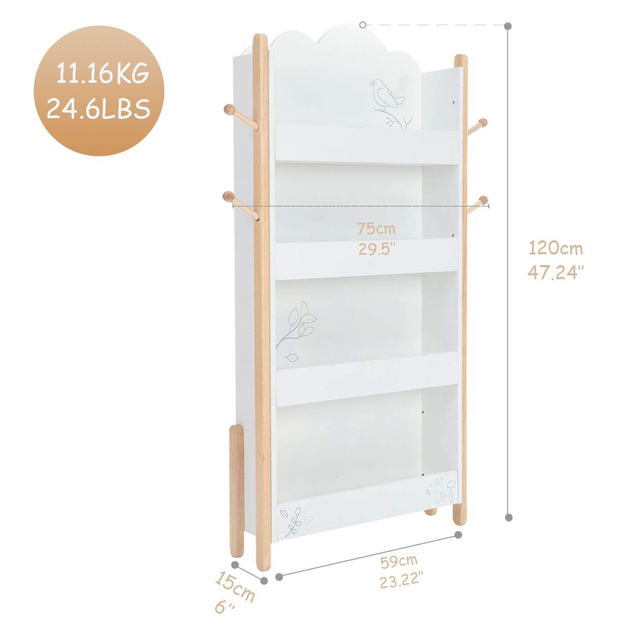 labebe - Bookshelf Kids, Book Rack Display for Kids, Kidcraft Bookcase White for Kids, Book/Toy Storage Bookshelf for Toddler, 4-Shelf Wood Bookcase for Baby Girl&Boy, Large Childrens Bookshelf: Amazon.ca: Home & Kitchen