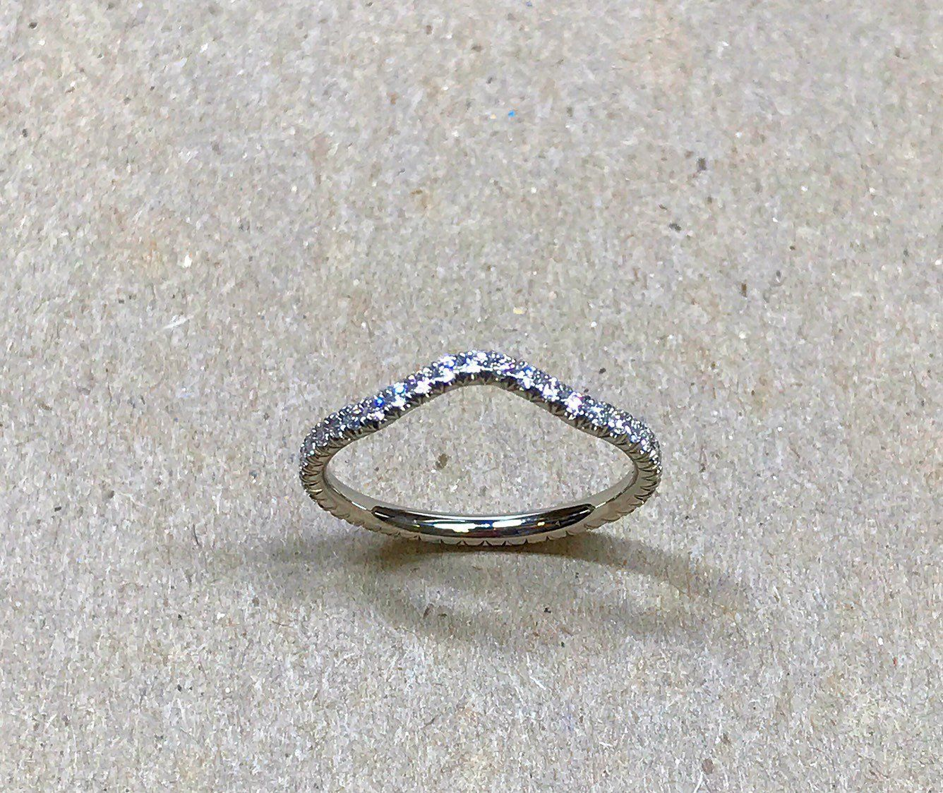 Handmade Platinum 950 Curved Band Ring with Pave Diamonds
