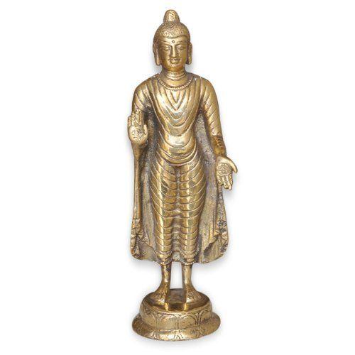 Standing Buddha Statue Handmade Buddhist Sculptures Unique Gift from India 2.75 x 3 x 9.5 inches DakshCraft