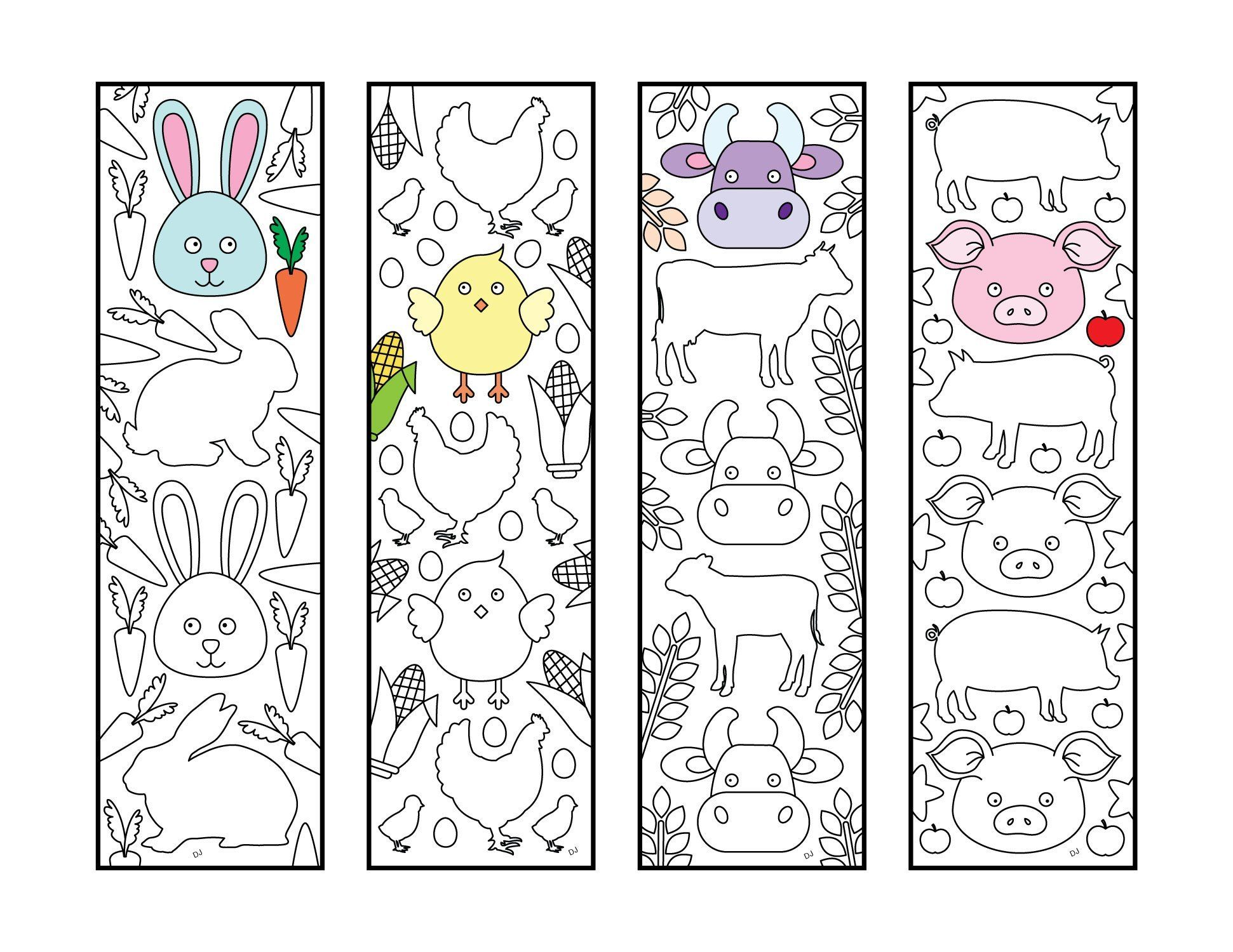 Cute Farm Animal Bookmarks Pdf Zentangle Coloring Page Scribble Stitch Coloring Pages Coloring Bookmarks Printable Coloring Pages