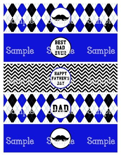 Printable MM Moustache Happy FatherS Day Water Bottle Label
