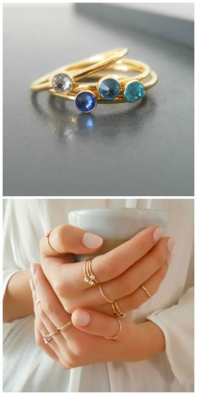 6f7e10c5df1 4 skinny gold birthstone rings with your choice of color.