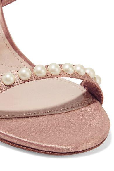 Miu Miu Faux pearl embellished slippers sfWHoU4AF