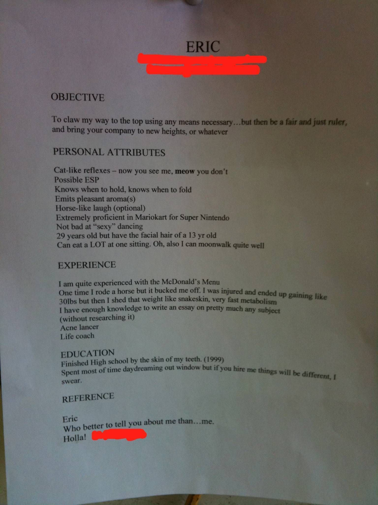 PHOTO: Is This The Worst or Best Resume Ever? | Hilarious, Humour ...
