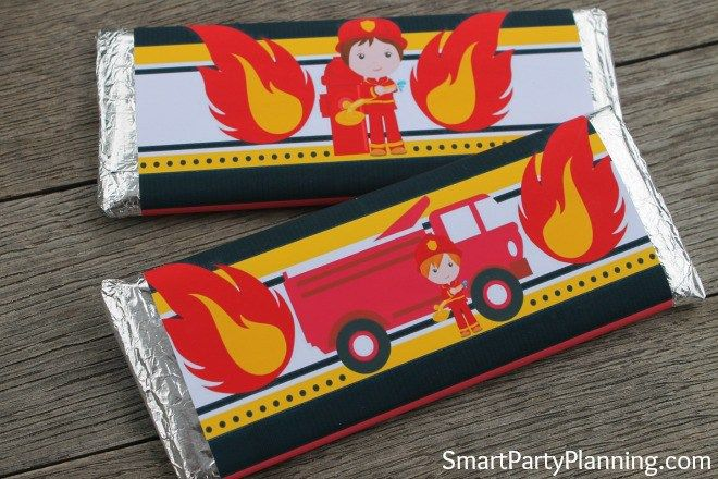 Fireman printables are great to use for easy party decoration when hosting a Fireman birthday party. The collection includes food table tents, water or soda bottle labels, cupcake toppers / tags and Hershey bar wrappers which are perfect to use for party favors. They are easy to download and use and the kids are going to love them. Bring some fire to your party design and download these printables today.