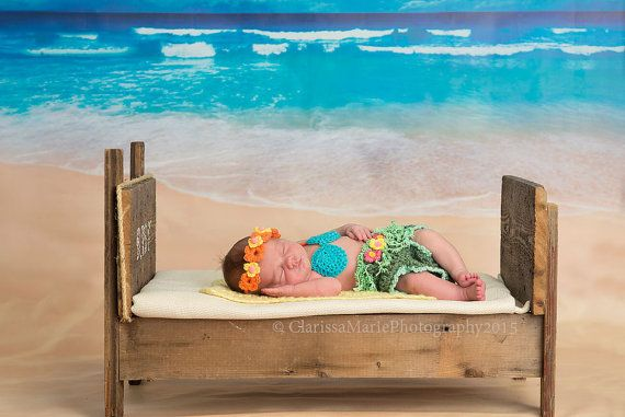 Newborn Hawaiian Aloha Costume, Hula Girl Outfit, Baby Bikini Set, Infant Girl Summer Crochet, Tropical Props Hawaii Grass Skirt