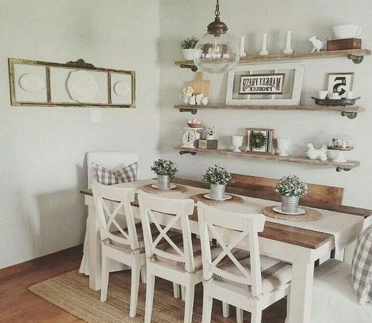 46 Popular Farmhouse Dining Room Design Ideas Trend 2019: Amazing Ideas Beautiful Dining Room Decor As Well As