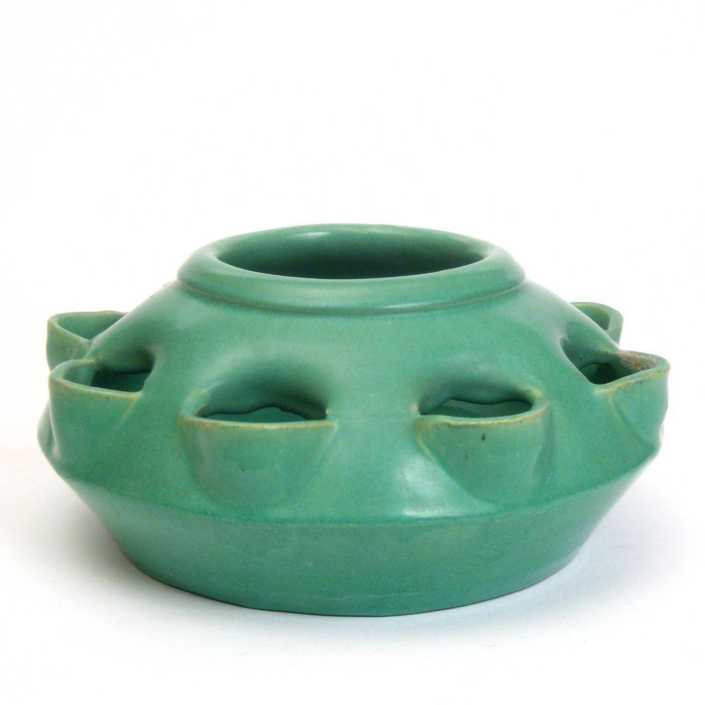 Calif Pottery USA Green Round Planter HousePlant Pot or Herb Planter