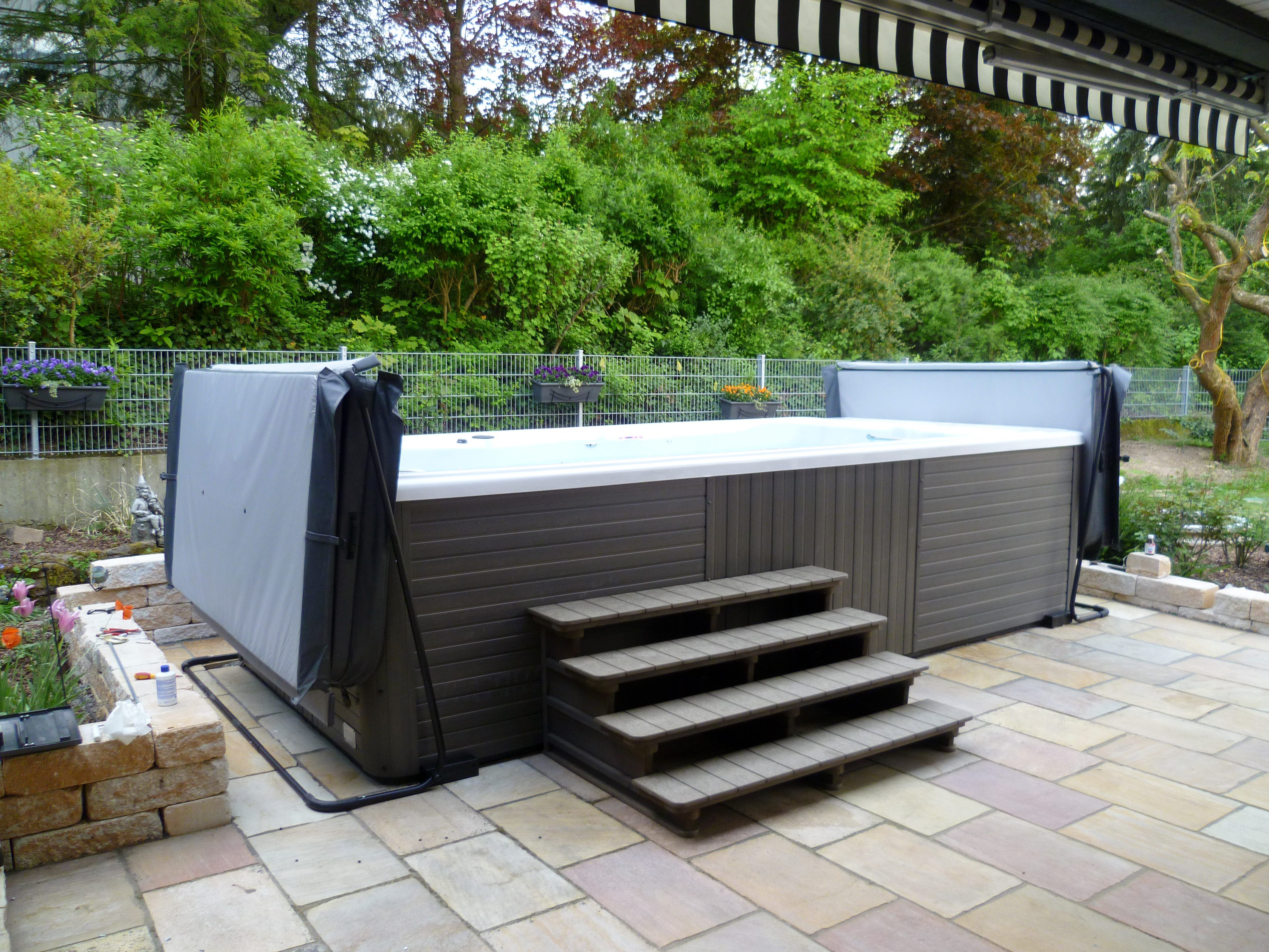 Michael Phelps Swimspa Huttub Installed With Hard Protective Covers Swimming Healthyliving Www Bayspas Co Uk Swim Spa Outdoor Swim Spa Swim Spa Landscaping