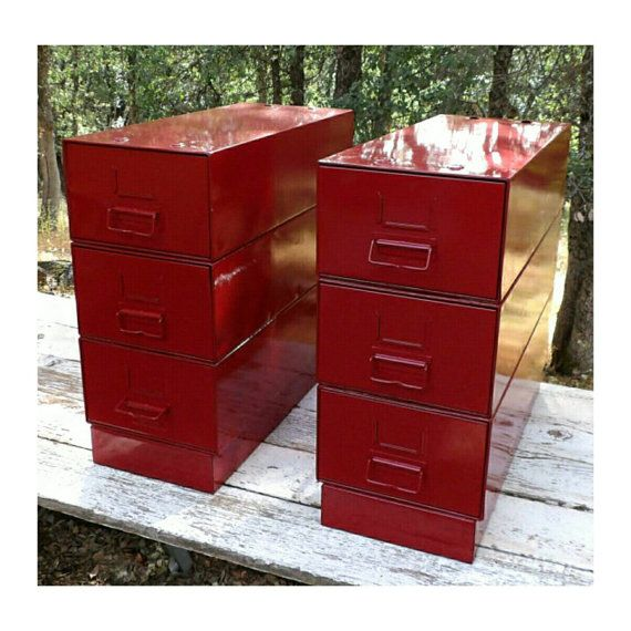 Red end tables nightstands metal industrial upcycled file Upcycled metal filing cabinet