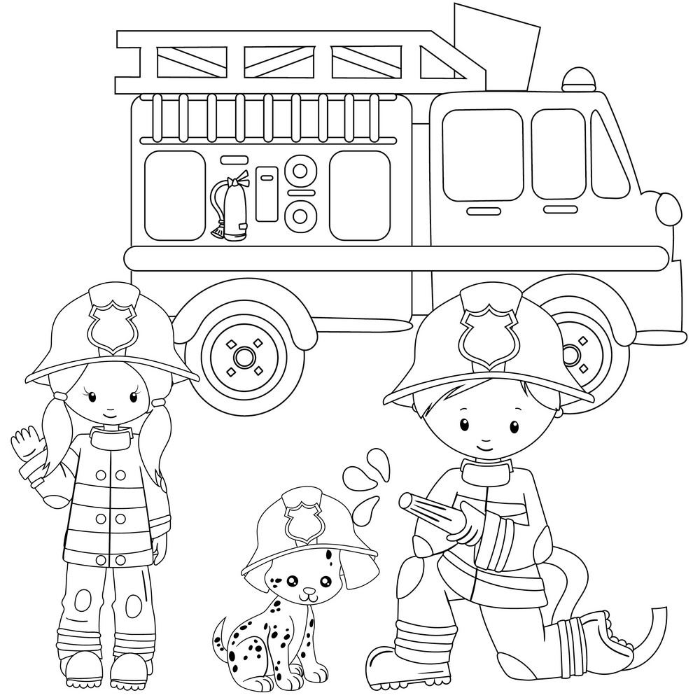 Popular Firefighters Coloring Page - Enjoy at Coloring ...