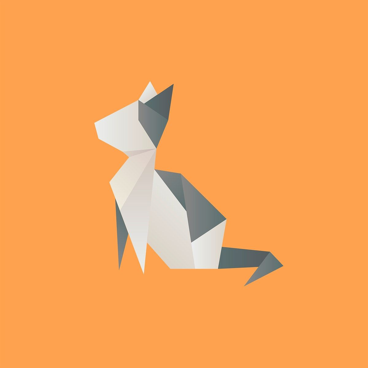 Photo of Cat geometric paper craft psd animal cut out | free image by rawpixel.com / Mint…