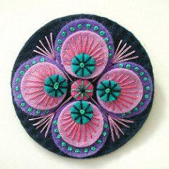 PEACOCK INSPIRED FELT BROOCH (APPLIQUE-designedbyjane) Tags: pin embroidery brooch peacock felt