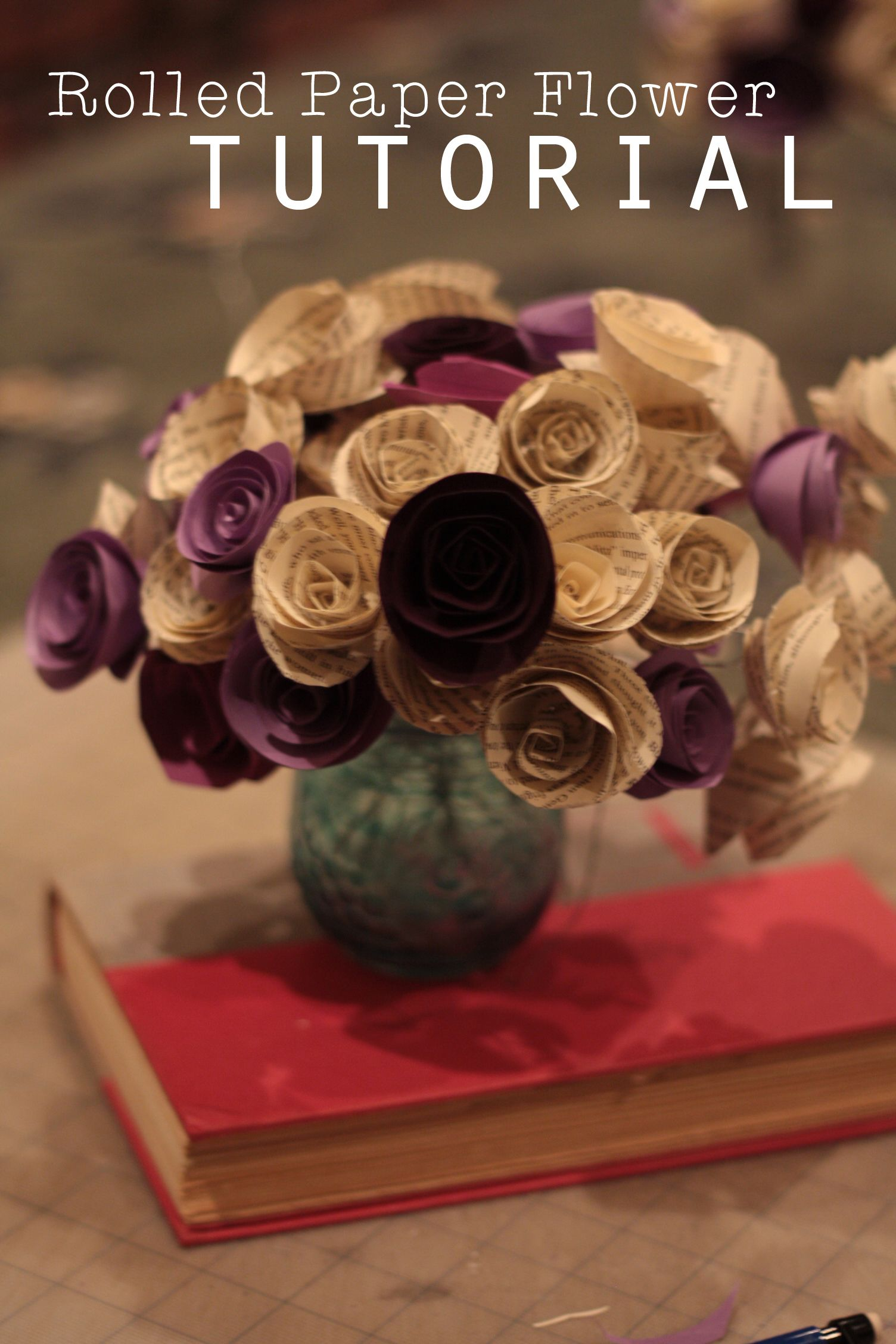 Rolled Paper Flower Tutorial Using Book Pages Paper Flower