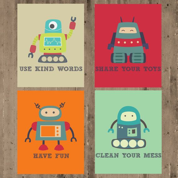 Playroom Wall Decor kids wall decor- playroom prints- playroom rules- robot prints