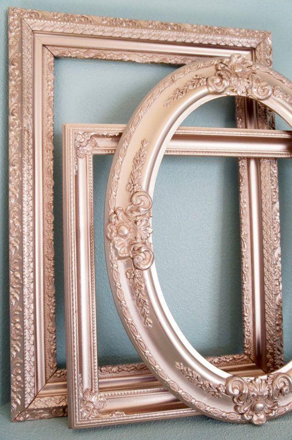 set of 3 rose gold metallic large vintage empty frames redesign pinterest empty frames. Black Bedroom Furniture Sets. Home Design Ideas