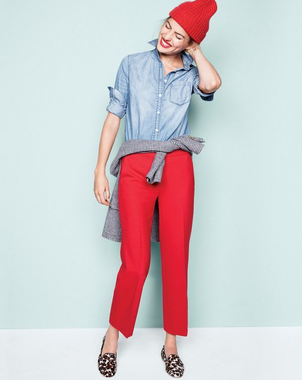 J.Crew women's always chambray shirt, Rhodes blazer in puppytooth, patio pant, ribbed knit beanie and Collection calf hair loafers. To pre-order, call 800 261 7422 or email verypersonalstylist@jcrew.com.