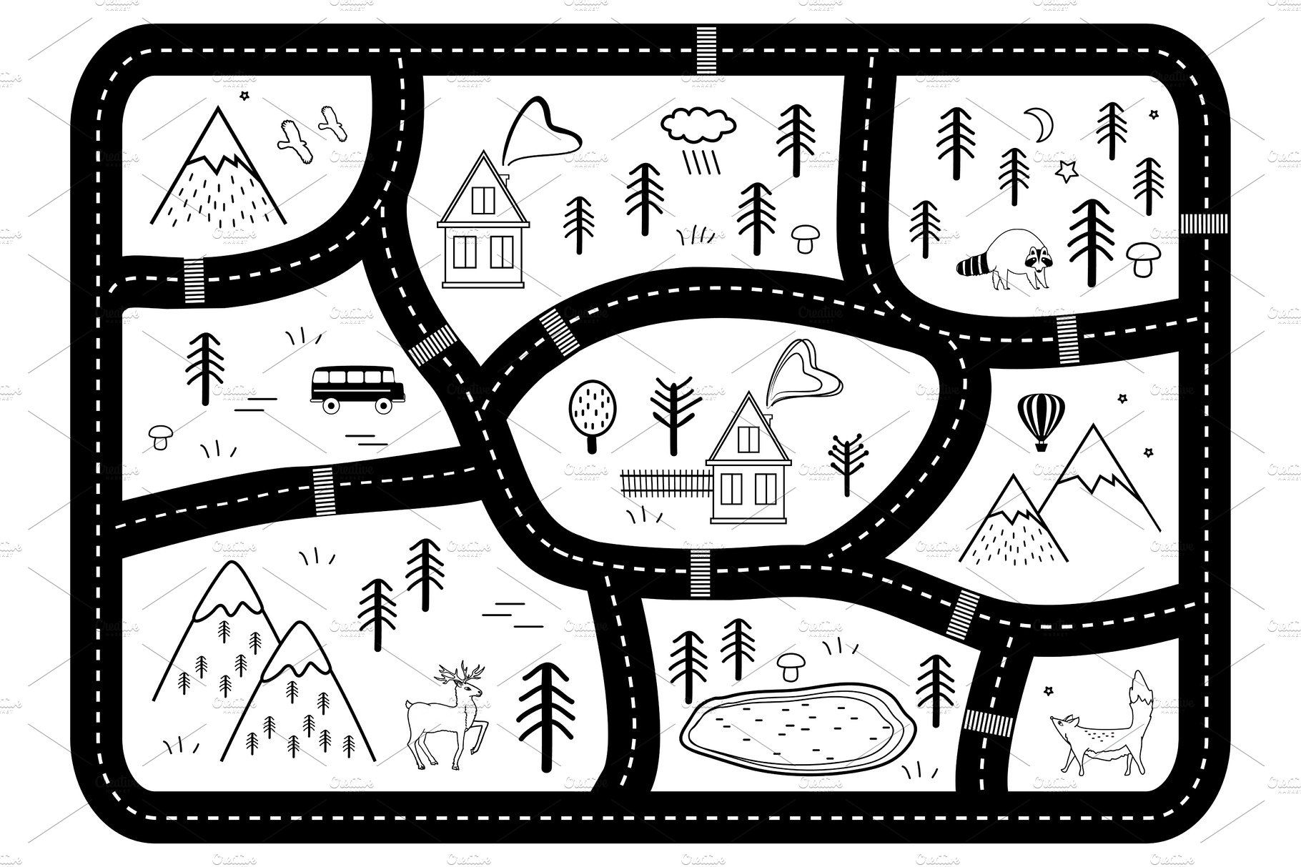 Black And White Kids Road Play Mat Road Kids Play Mat Black