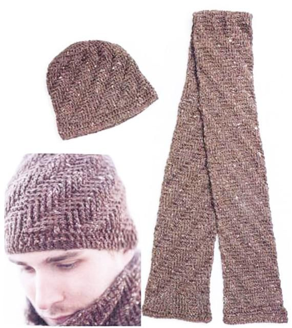 Crochet Pattern - PDF File - Mens Hat and Scarf - Rugged Warmth Winter Set.  Mens Accessory Set. Cro 3f3b318e23