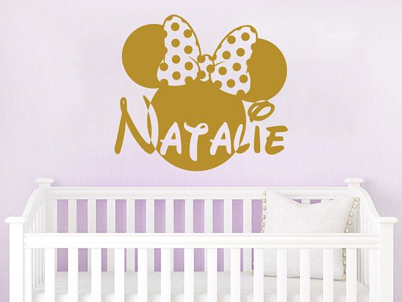 Wall Name Decal Minnie Mouse Head Bow Vinyl Decals Sticker Custom ...