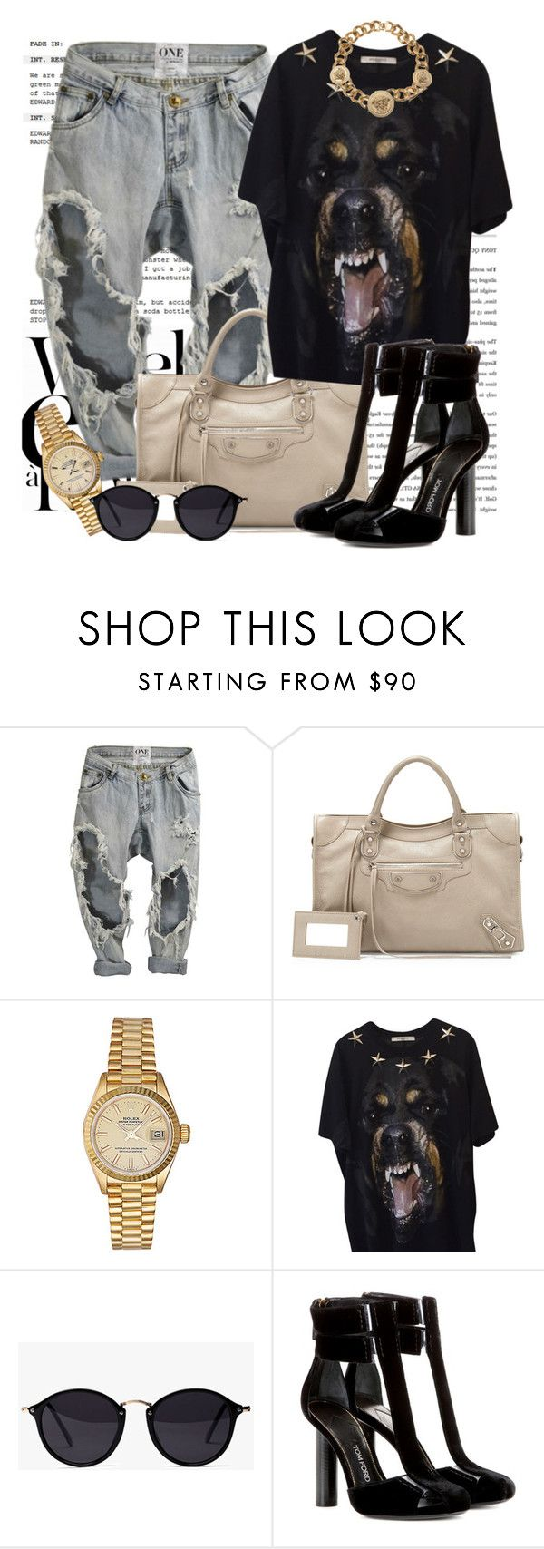 """Untitled #1283"" by noviii ❤ liked on Polyvore featuring LARA, Balenciaga, Rolex, Givenchy, Tom Ford and Versace"