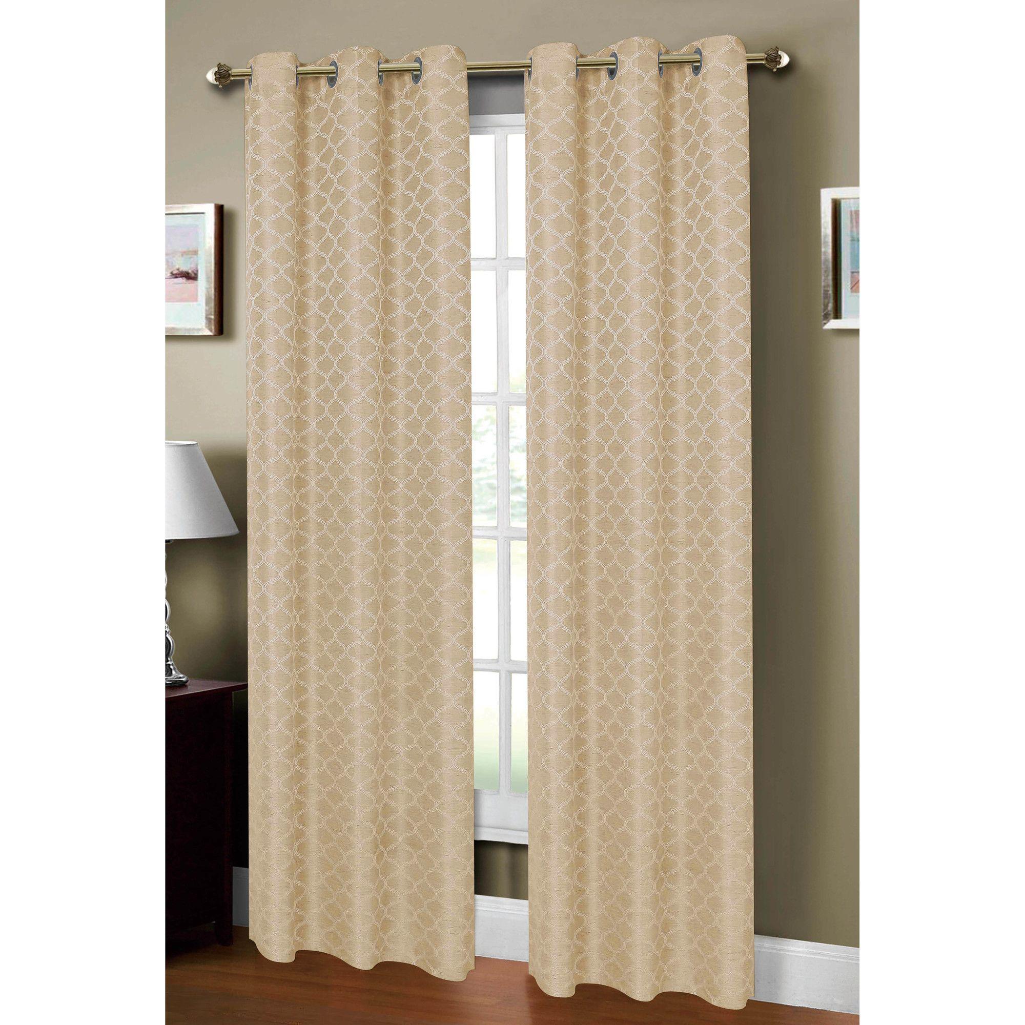 Sonata Woven Lattice Jacquard Grommet Curtain Panel