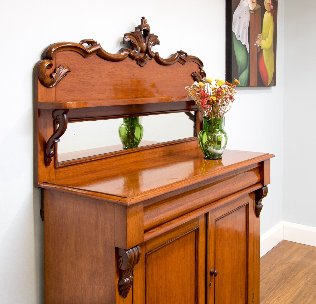 Vintage Carved Sideboard Antique Vintage Carved Mahogany Mirror Back Chiffonier