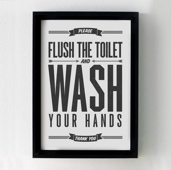 Flush Sign Bathroom Decor Printable Art Flush Toilet