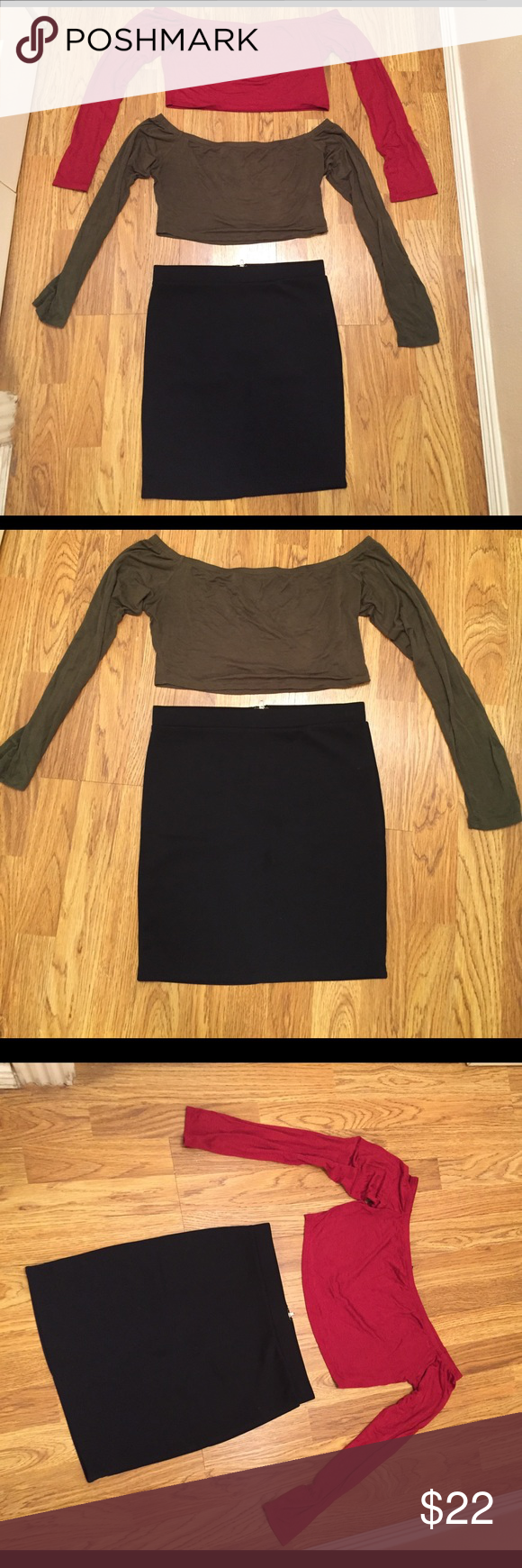 Bundle 2 Cute outfits. Bundle Forever21 M skirt w/zipper in the back and 2 crop tops Forever 21 Skirts Mini