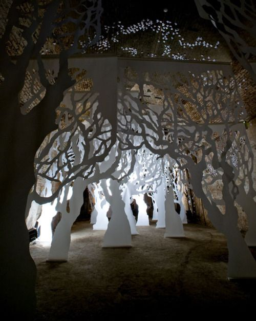 Life-size Paper Forest by Lightning + Kinglyface