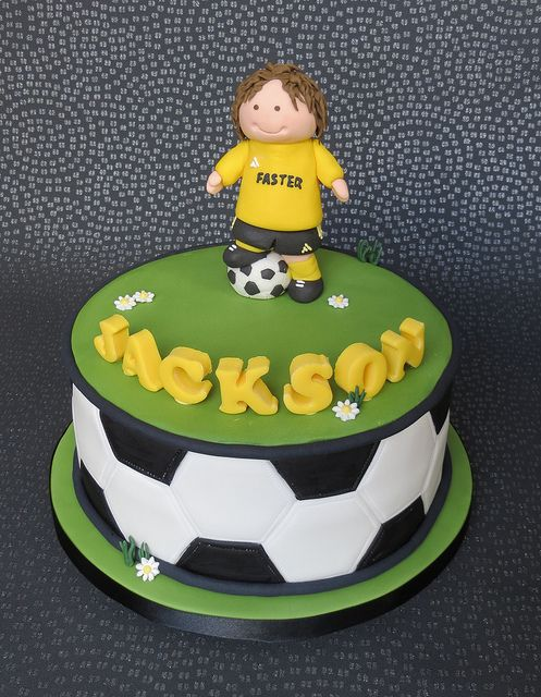 Soccer Cake Soccer Yellow Green Black White Boy Birthday