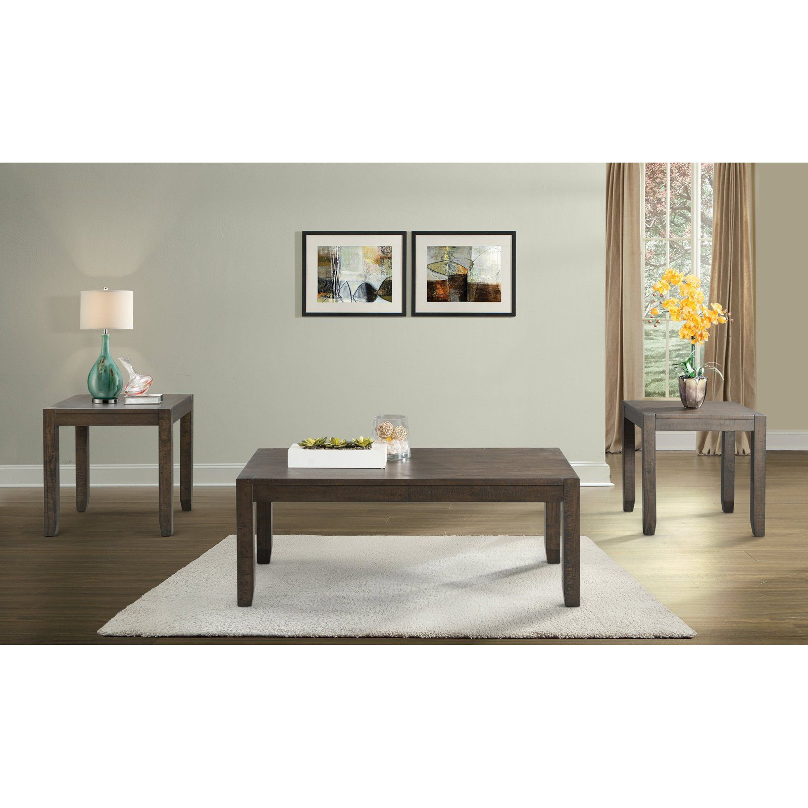 Picket House Furnishings Dex 3 Piece Occasional Table Set   Gray   TAD100OT