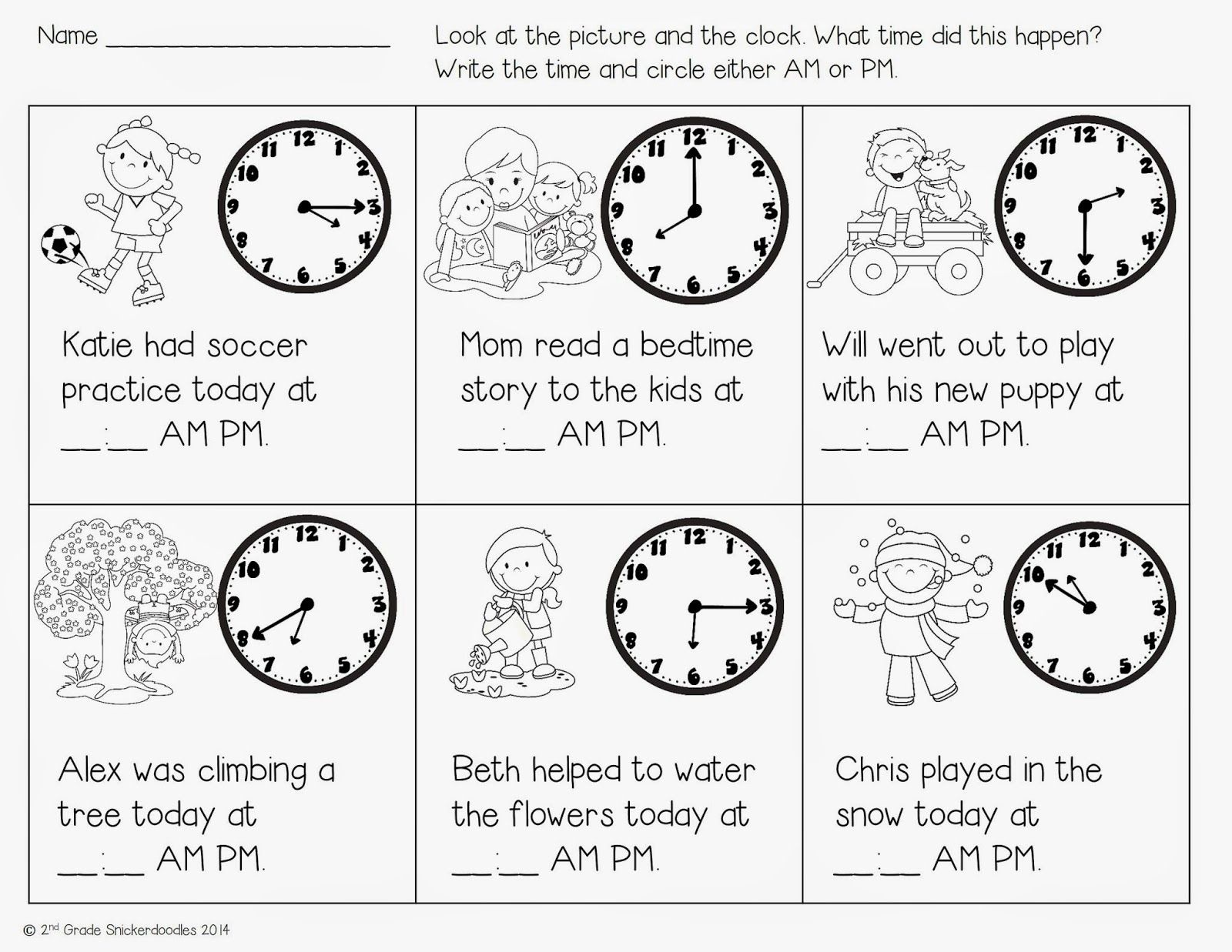 Time Freebie By 2nd Grade Snickerdoodles