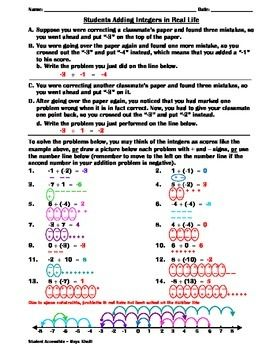 students adding integers in real life worksheet - Adding Integers Worksheet