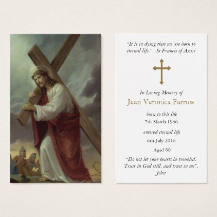 Funeral Prayer Cards Carrying The Cross 1 Funeral prayers - prayer card template free