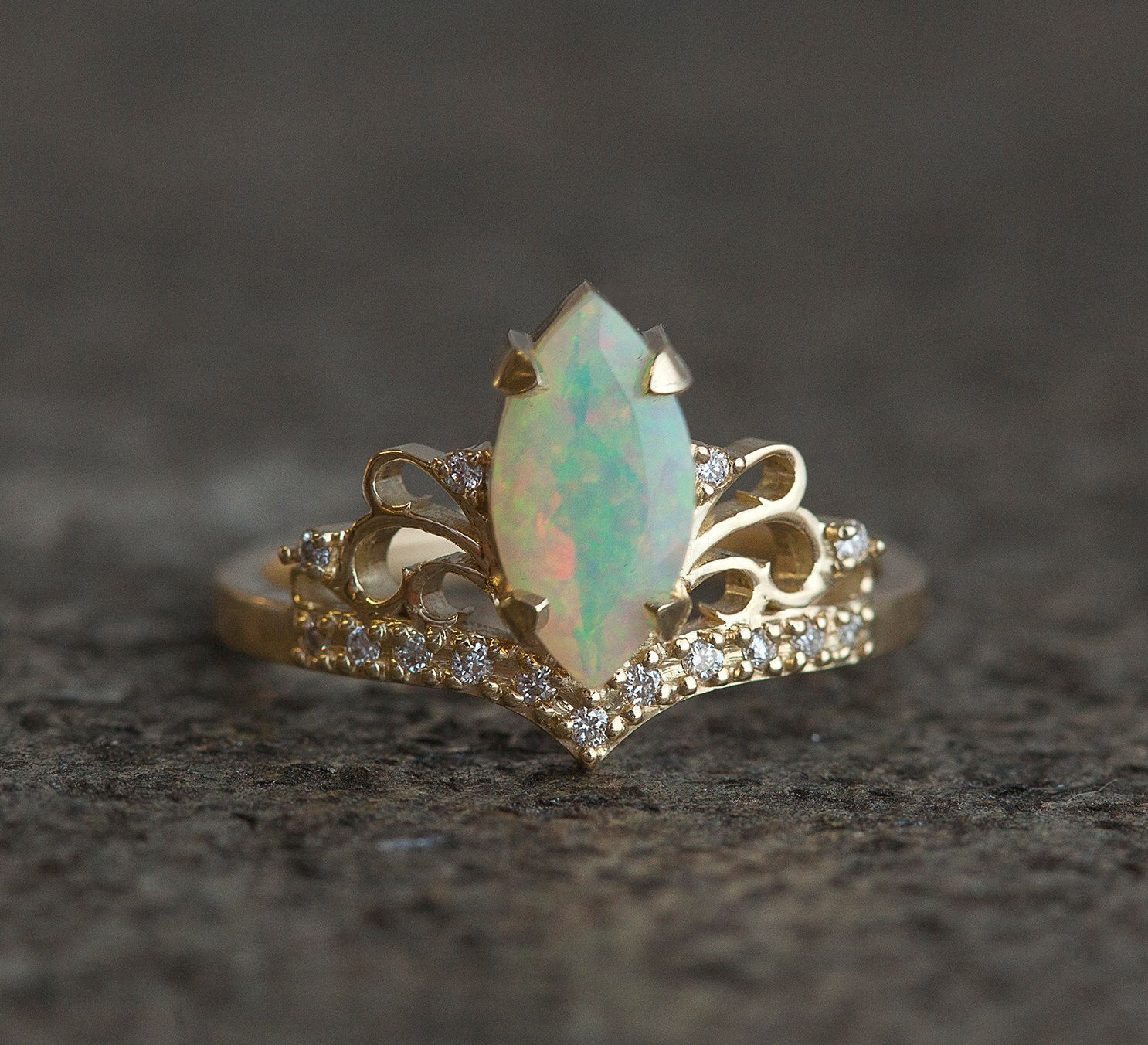 Marquise Opal Engagement Ring, Opal And Diamond Engagement