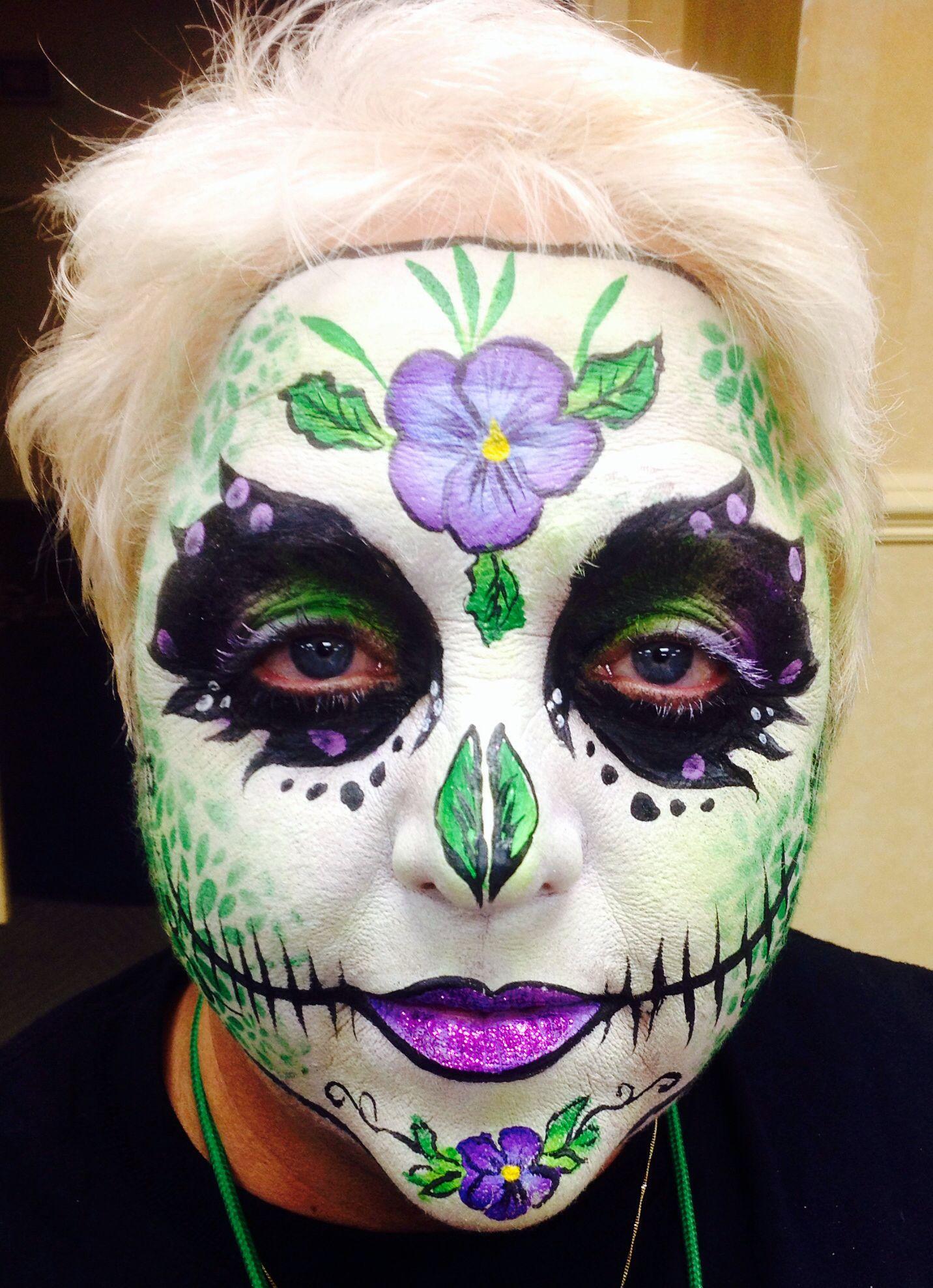 Pansy sugar skull by Cheryl Painter, nj Halloween face