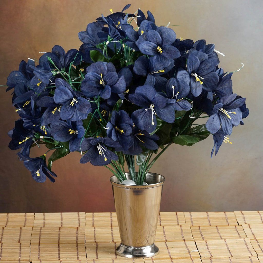 6 Bush 144 Pcs Navy Blue Amaryllis Artificial Silk Flowers Wedding