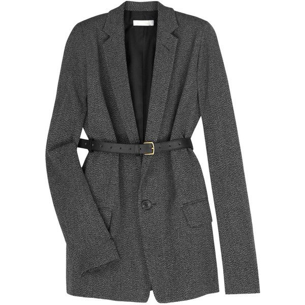 Chloé Tweed belted jacket (€1.205) ❤ liked on Polyvore featuring outerwear, jackets, coats, tops, blazers, jacket with belt, chloe blazer, chloe jacket, tweed jacket and wool tweed blazer