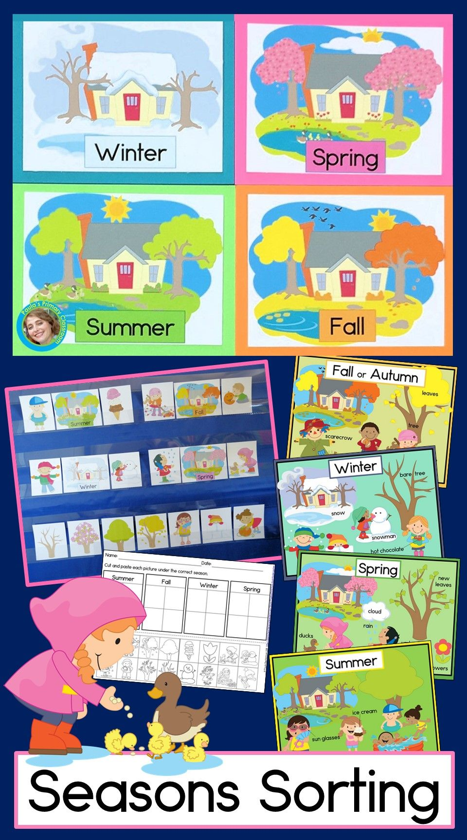 Four Seasons Sorting Seasons Worksheets Kindergarten Lessons Winter Kindergarten [ 1728 x 960 Pixel ]