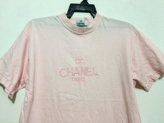 Vintage CHANEL Paris Embroidered T Shirt by streetwearhouse1987