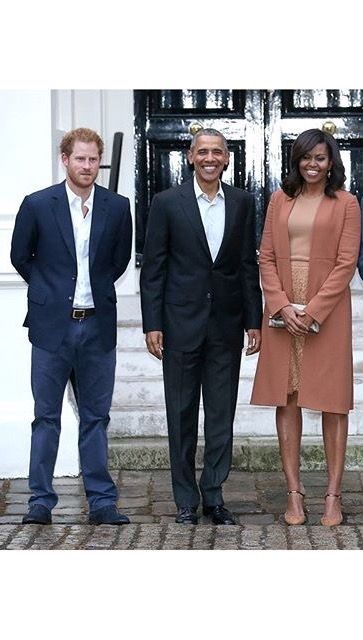 Prince Harry with the Obamas at Kensington Palace, 4222016