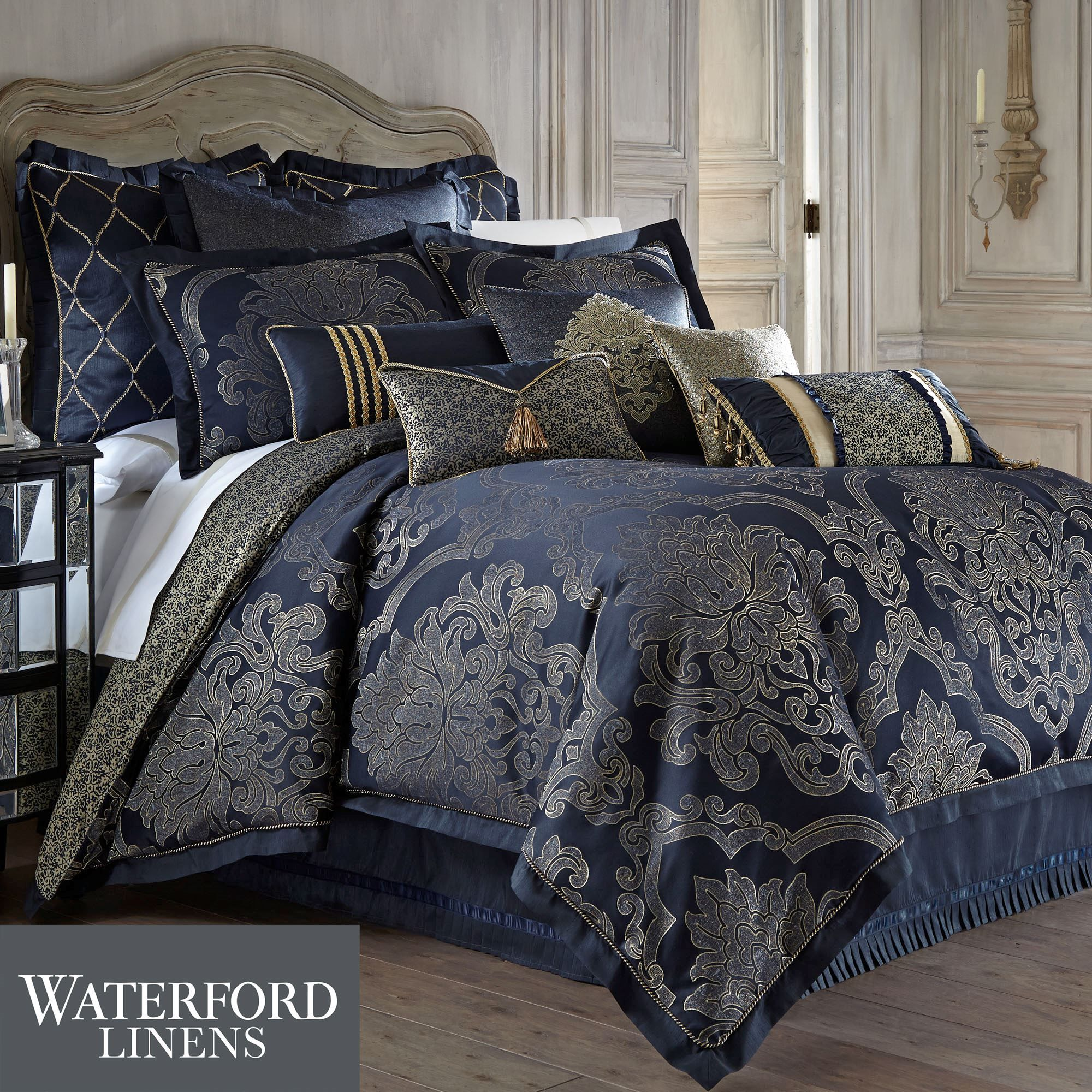 piece set shipping bedding overstock free product linen today marchella comforter gathered bath vcny