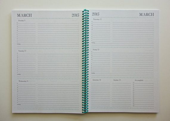 Large 2014/2015 Academic Weekly  Monthly Planner Planners