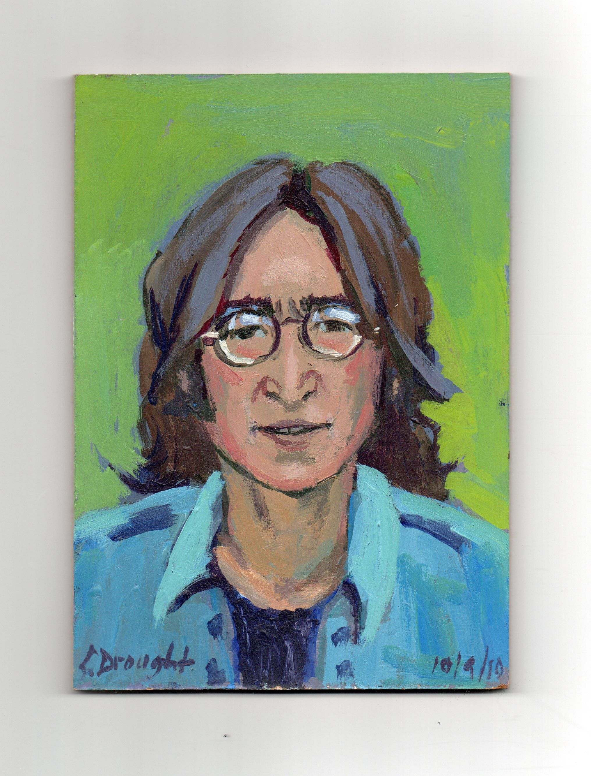 Imagine John Lennon Peace On Earth 5x7 Acrylic Masonite By Sara Drought Nebel
