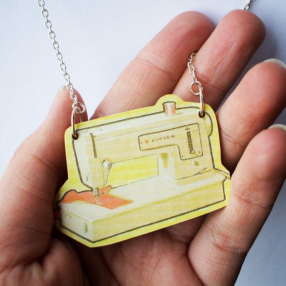 Wooden Sewing Machine Necklace