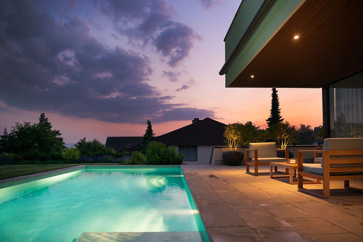 Pool Bei Nacht Gartengestaltung Terrassengestaltung Pool
