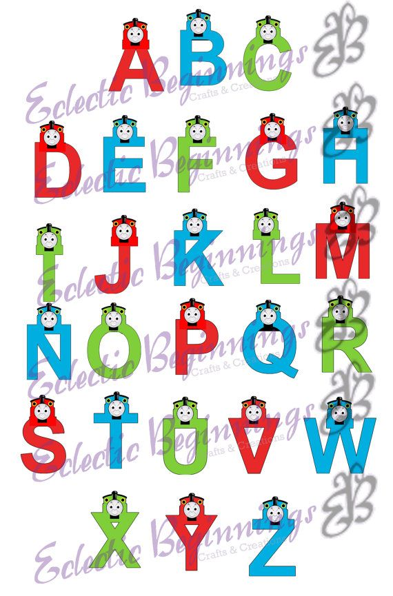 alphabet png digital file diy print clip art thomas the train character letters alphabet